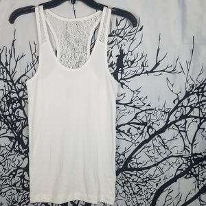 SO | White Racerback Ribbed Tank Top Lace Back   l